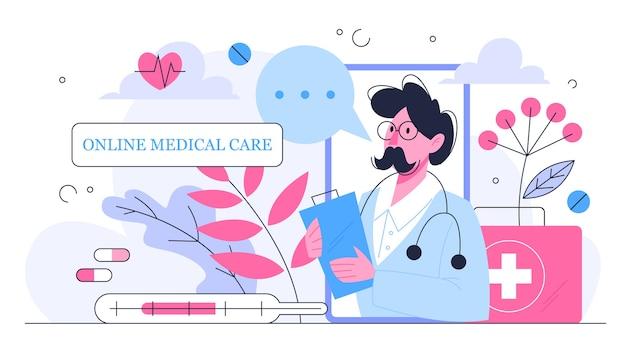 Konsultacja online z lekarzem. zdalne leczenie za pomocą smartfona lub komputera. serwis mobilny. pomysł uzyskania pomocy medycznej z dowolnego miejsca. ilustracja
