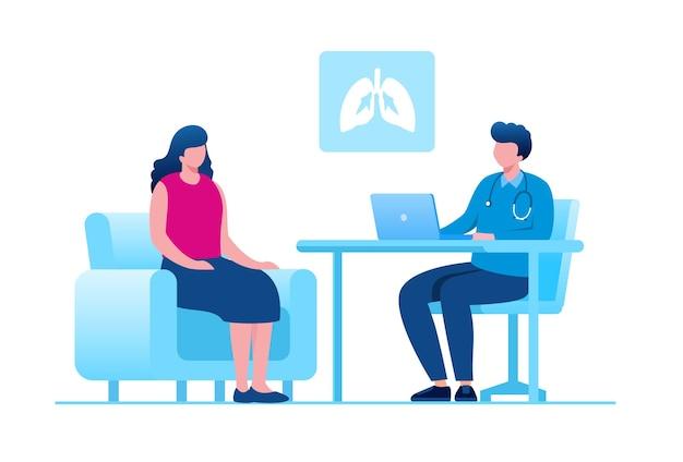 Konsultacja z lekarzem ilustracji wektorowych płaski baner na stronę docelową i stronę internetową