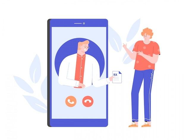Konsultacja z lekarzem online. aplikacja medyczna na smartfonie. diagnoza dla pacjenta i recepta. mężczyzna terapeuta płaska ilustracja z postaciami.