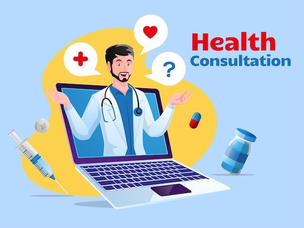 Konsultacja zdrowotna online z laptopem
