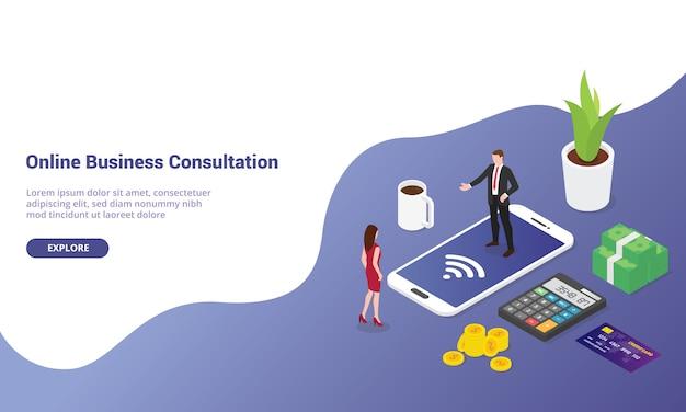 Konsultacje biznesowe online na smartfonie z izometrycznym nowoczesnym stylem mieszkania dla szablonu strony internetowej lub strony docelowej