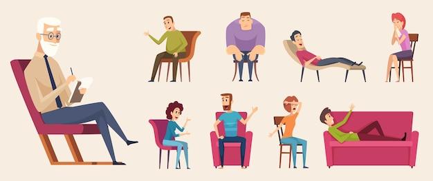 Konsultacje psychoterapeutyczne. ludzie rozmawiają w tłumie z konsultantem psychologicznym w terapii rodzinnej. ilustracja psychoterapia i psychologia konsultacyjna