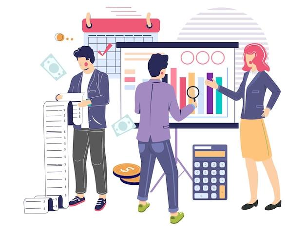 Konsultant biznesowy audytorzy analizujący dane płaskie ilustracji wektorowych sprawozdanie finansowe ...