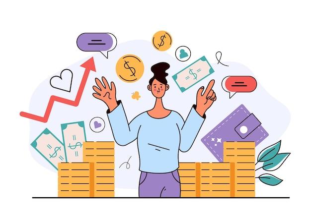 Konsultant finansowy i koncepcja sukcesu w biznesie ilustracja projektu płaskiego w nowoczesnym stylu