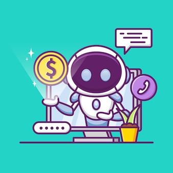 Konsultant finansowy z uroczym robotem