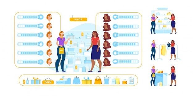 Konsultant sklepu animowany zestaw znaków klienta