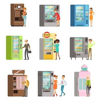 Konsumenci stojący w pobliżu automatu z napojami i kupujący napoje i jedzenie.