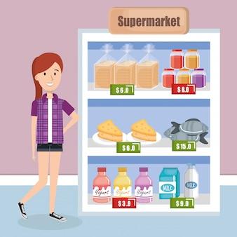 Konsument z artykułami spożywczymi w supermarkecie