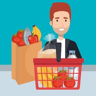 Konsument z koszykiem zakupów spożywczych