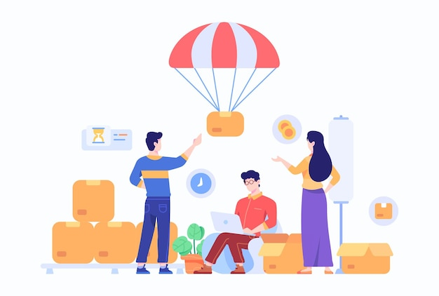 Konsument zamawiaj i odbieraj pakiet e-commerce marketplace w domu dostarczony przez parachute concept