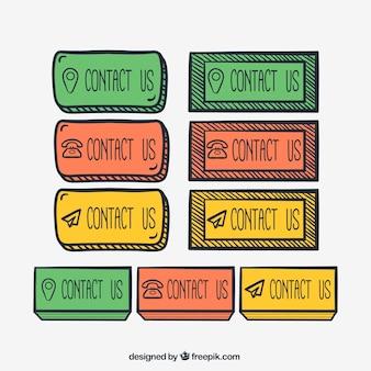 Kontaktowe kolorowe przyciski rysowane ręcznie pakować