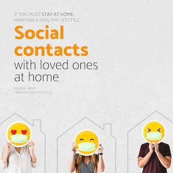 Kontakty społeczne z bliskimi w domu podczas epidemii koronawirusa szablon społecznościowy źródło who wektor