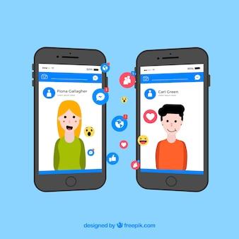 Kontekst facebooka z telefonami komórkowymi