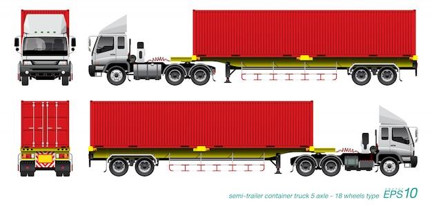 Kontener ciężarówki z przyczepą