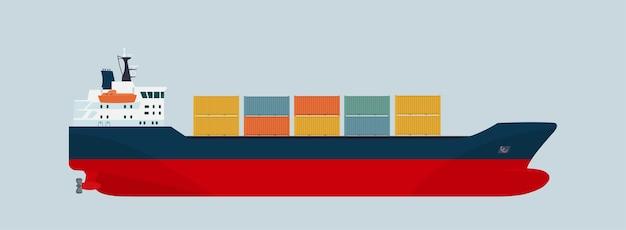Kontener statku towarowego na białym tle. ilustracja płaski.