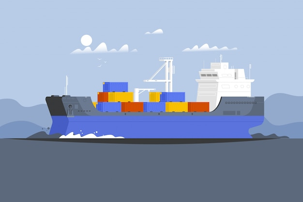 Kontener statku towarowego w oceanie