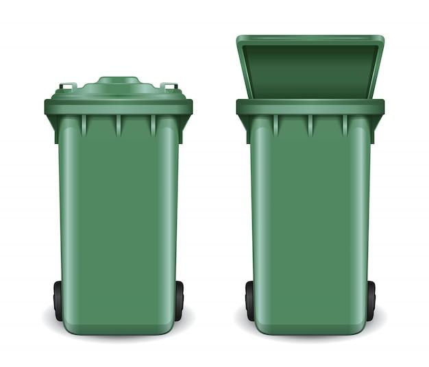 Kontener w stanie otwartym i zamkniętym. kosz na śmieci na kółkach. zielone wiadro na śmieci do recyklingu. na białym tle