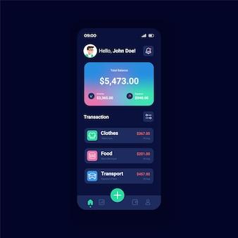 Konto bankowe szablon wektor interfejsu smartfona w trybie nocnym