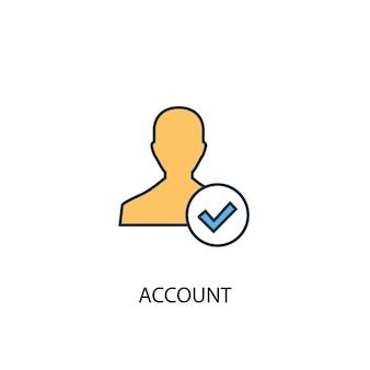 Konto koncepcja 2 kolorowa ikona linii. prosta ilustracja elementu żółty i niebieski. konto koncepcja zarys projekt symbolu