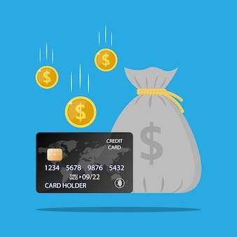 Konto oszczędnościowe torba pieniędzy karta kredytowa monety