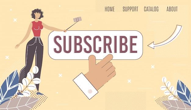 Konto sieci społecznościowej subskrybuj stronę wektorową