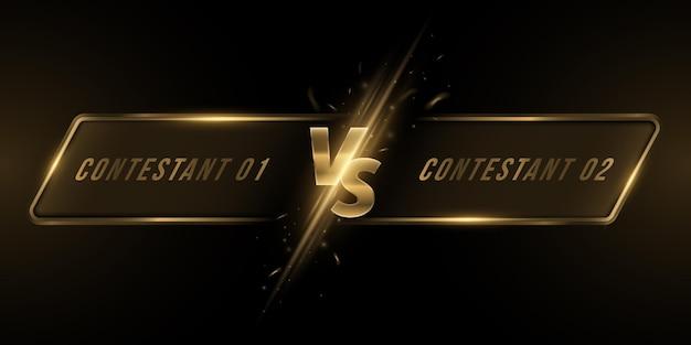 Kontra ekran z ramką. złote litery vs z ognistym błyskiem do gier sportowych, turniejów, cybersportu, sztuk walki, walki w bitwach. koncepcja gry. ilustracja wektorowa