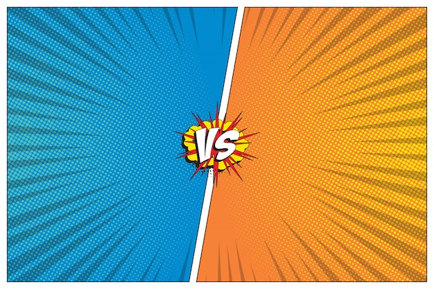 Kontra szablon bitwy z dwoma panelami ozdobionymi komiksowym stylem retro. tło rastra i linie promieniowe
