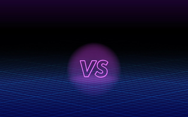 Kontra szablon projektu w stylu lat 80-tych, futurystyczny syntezator retro fala koncepcja wirtualnej rzeczywistości tła. ilustracja wektorowa do gier, bitwy, meczu, sportu lub walki konkurencji, vs