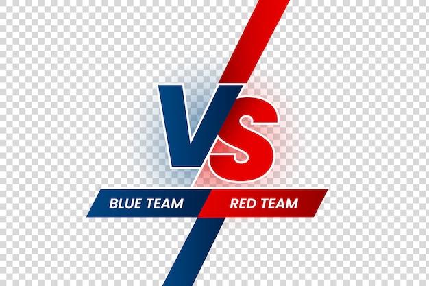 Kontrakt pojedynku, ramka bitwy czerwony vs niebieski, rozgrywki meczowe i konfrontacja drużyn na białym tle