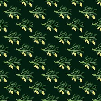 Kontrast bezszwowe owocowy wzór z doodle kreskówka zielone gałęzie i żółte cytryny.