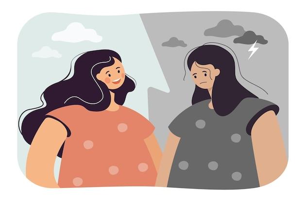 Kontrast szczęśliwej i przygnębionej kobiety. płaska ilustracja