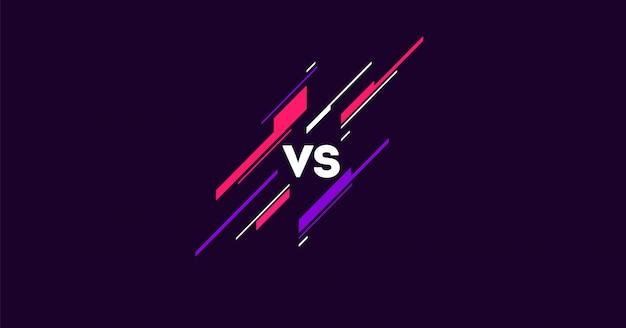 Kontrastowe logo w ciemności z prostymi elementami płaskie. vs litery dla sportu i walki. mma, bitwa, mecz, koncepcja gry konkurencyjna vs.