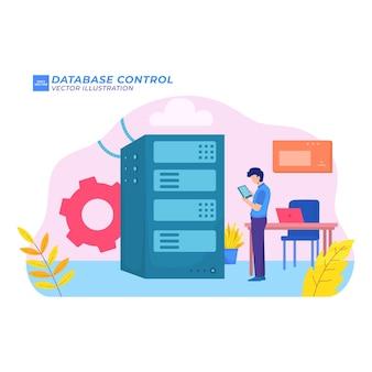 Kontrola bazy danych płaska ilustracja serwerowa sala bezpieczna w dużych ilościach danych w sieci