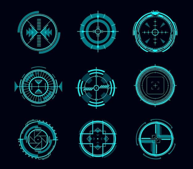 Kontrola celowania hud, futurystyczny cel lub interfejs nawigacyjny, interfejs gry wektorowej. cyfrowy ekran danych, panel lub deska rozdzielcza przyszłej technologii wyświetlacz head up z niebieskimi hologramowymi okręgami, strzałkami, celownikami