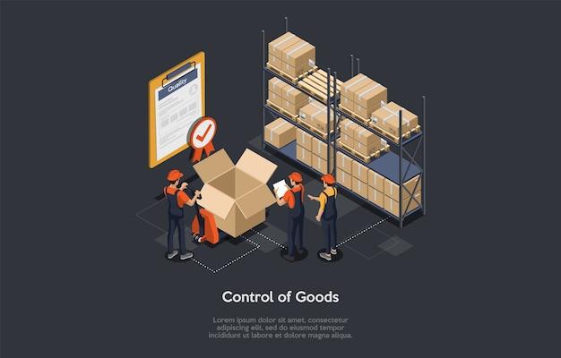 Kontrola izometryczna towaru pracownicy magazynu sprawdzający towar, świadectwo jakości ze znacznikiem wyboru stanu magazynowego, kontrola jakości paczek, proces pakowania towaru. ilustracji wektorowych.