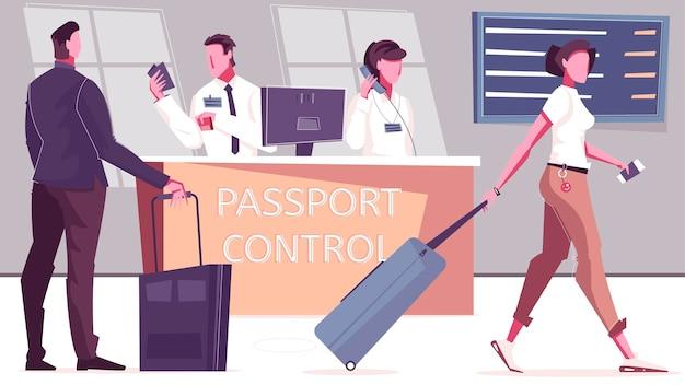 Kontrola paszportowa z postaciami pasażerów i funkcjonariuszy przy biurku z ilustracją odlotów