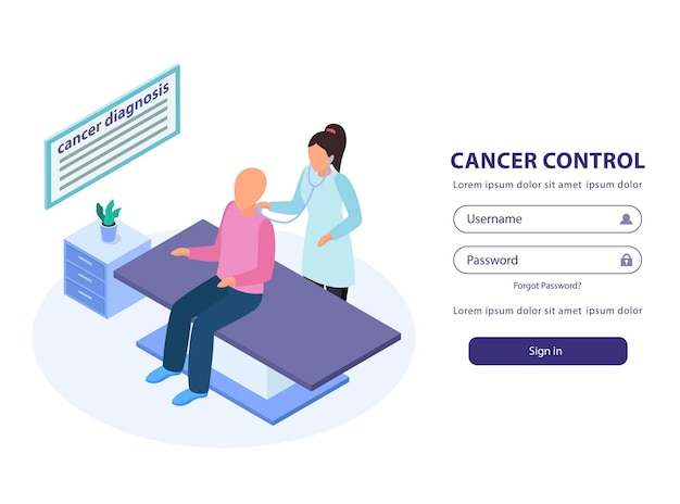 Kontrola raka zaloguj się w szablonie strony internetowej izometryczna ilustracja z lekarzem badającym pacjenta na kanapie medycznej