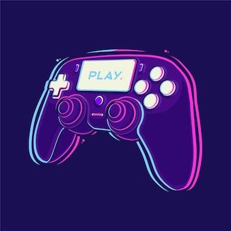 Kontroler kij playstation ilustracja kreskówka premium wektorów