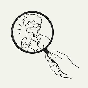 Kontroler objawów doodle wektor, ilustracja koronawirusa