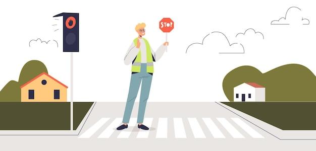 Kontroler ruchu trzymając znak stop stojący na przejściu dla pieszych na czerwonym świetle. oficer kontrolujący ruch drogowy i bezpieczeństwo pieszych podczas przechodzenia przez ulicę na zebrze. ilustracja kreskówka płaski wektor