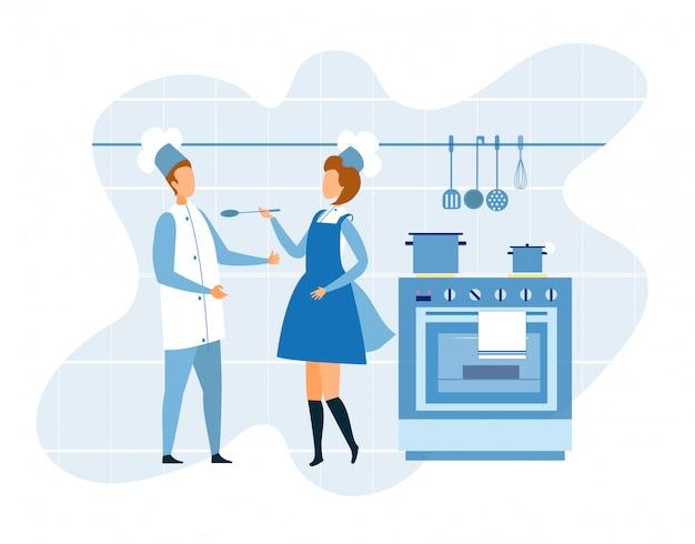 Kontrolowany proces gotowania w kuchni restauracji