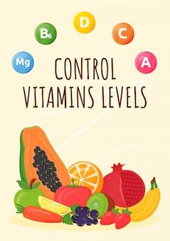 Kontroluj poziomy witamin plakat płaski szablon wektor. świeże owoce i warzywa dla zdrowego odżywiania. zbilansowana dieta.