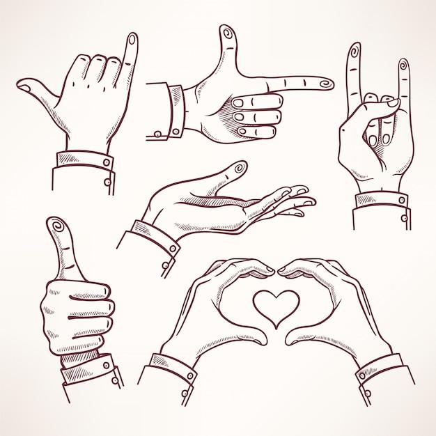 Kontur dłoni szkicu