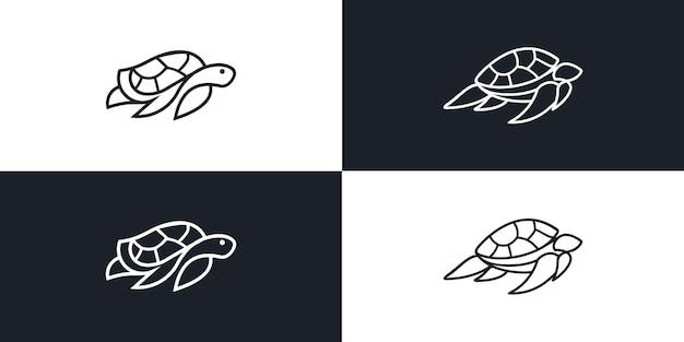Kontur linii wektora żółwia monoline