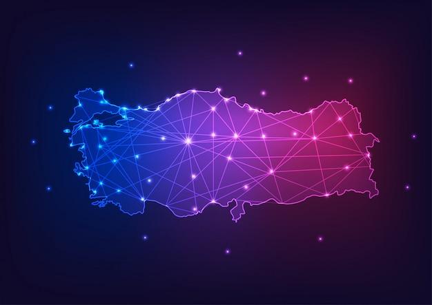 Kontur mapa turcji z gwiazdami i linie abstrakcyjne ramy. komunikacja, koncepcja połączenia.