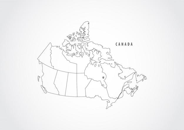 Kontur mapy kanady na białym tle.
