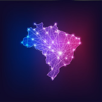 Kontur mapy połączeń brazylii z ramami abstrakcyjnymi gwiazd i linii.
