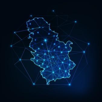 Kontur mapy serbii z ramami abstrakcyjnymi gwiazd i linii. komunikacja, koncepcja połączenia.