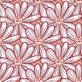 Konturowane wiosna wzór z ornamentem doodle kwiaty daisy. różowe tło. abstrakcyjny styl. ilustracji. projekt wektor dla tekstyliów, tkanin, prezentów, tapet.