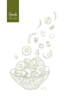 Konturowy rysunek sałatki greckiej i jej składników.